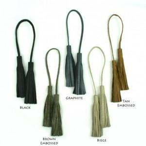 Double Leather Tassel Purse Charm - Tassel for Handbag Strap - Tassel Accessory in Black, Biege, Camel, Gray, Tan, Brown
