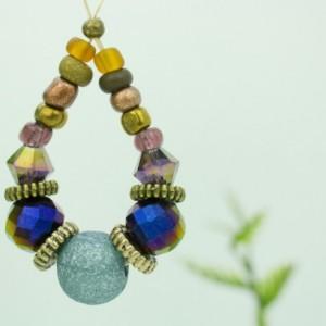 Oval Glass Earrings, Blue Earrings, Multi Color Beads