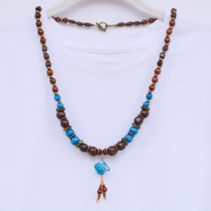 Blue and Brown Wooden Bead Necklace, Natural Beads Necklace, Earthy Necklace, Bohemian Necklace