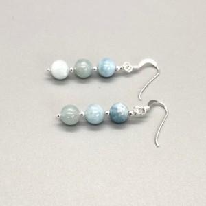 Sterling Silver .925 Aquamarine Dangling Earring