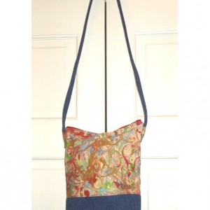 HANDPAINTED Over the Shoulder TOTE BAG with upcycled jean accent bottom and strap