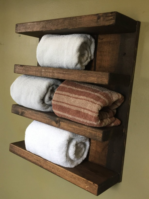 "FREE SHIPPING Rustic Design Wood 4-Tier Shelf Hotel Style Towel Rack (18"" 1/2 x 22"") - Custom Finish Avail"