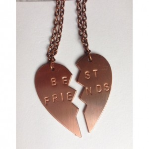 Best Friend Copper necklace split heart pendants