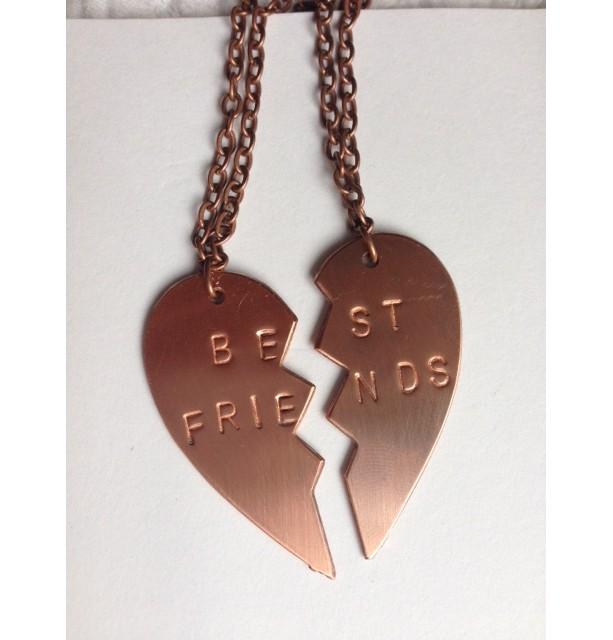 Best Friend Copper necklace split heart pendants