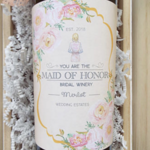 Will You Be My Maid of Honor Wine Label | Personalized Wedding Wine Label | Bridal Party Gifts | Wedding Favors | Wine Bottle Label