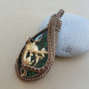 Wire Wrapped Unisex Dragon Vein Agate with Brass Dragon Pendant