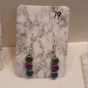 Green, pink and blue bead earrings