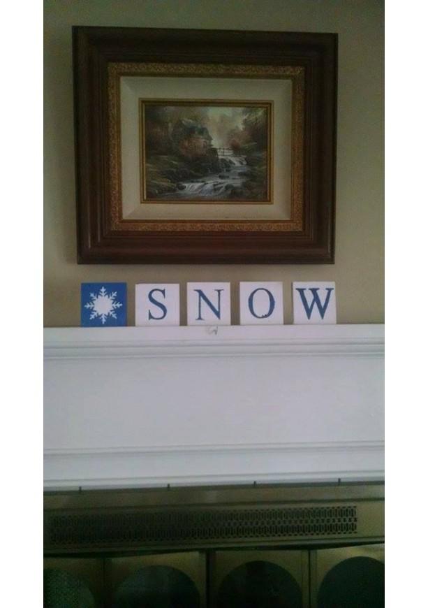 Snow wood sign blocks, vintatge wood sign art