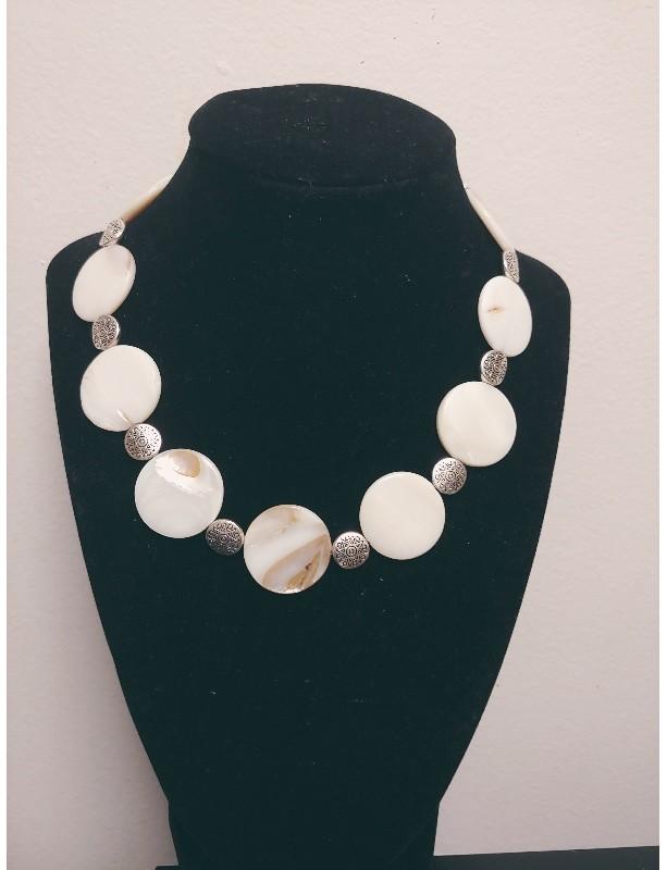 Natural Shell Lentil Toggle Necklace
