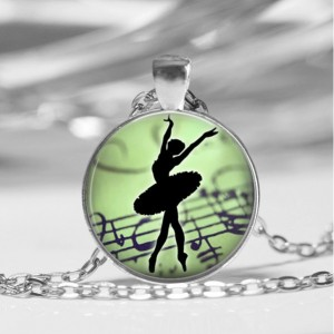 Ballerina Danceing Glass Dome Pendant Necklace or Key Chain Green Jewelry Dance Class glass pendant Dance Teacher Gift Ballet
