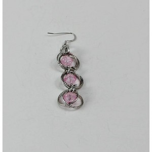 Spiral Weave Dangle Chainmaille Earrings with Pink Crackled Beads