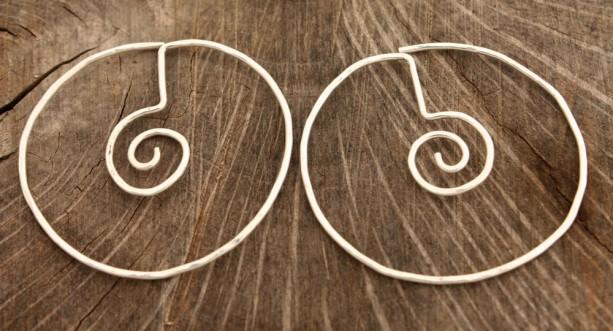 Spiral in Circle Unique Hoop Earrings