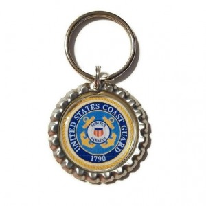 Coast Guard Bottle Cap Keychain, MIlitary Gift, Military Key Chain
