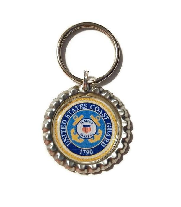 Coast Guard Bottle Cap Keychain, MIlitary Gift, Military Key Chain