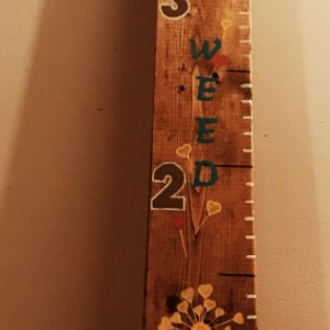 """6 ft  Children's Wooden Growth Ruler-""""Growing like a weed"""""""