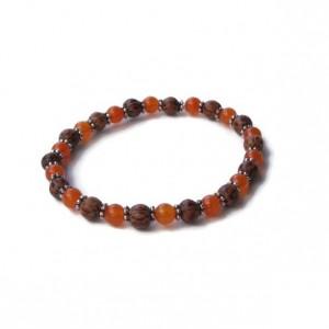 Orange Jade and Wood Stretch Bracelet