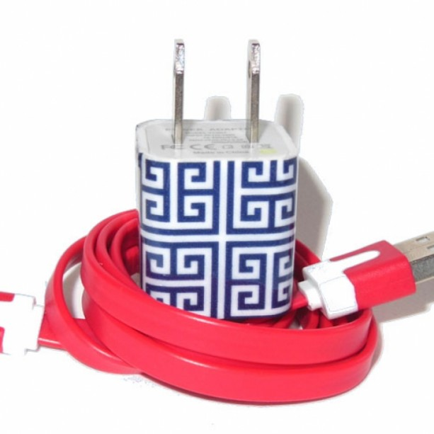 Blue Greek Key Cell Phone Charger