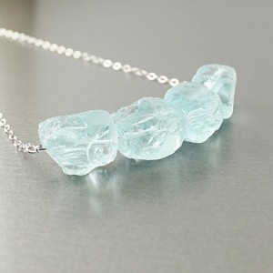 Raw stone necklace, blue quartz sterling silver rough crystals