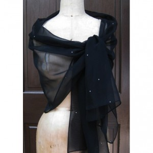 Black Chiffon Shawl Wrap with Rhinestone