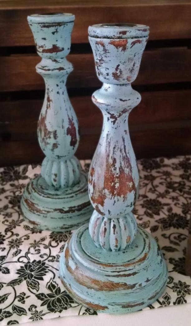 Shabby Chic Aqua Blue Candle Holders Aftcra