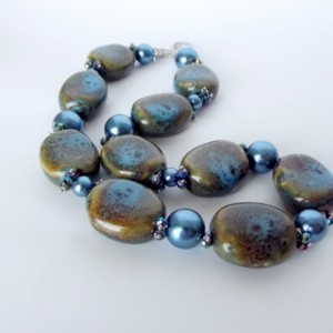 Blue Porcelain Necklace, Big Bold Chunky Necklace, Blue Pearl, Peacock Blue, Teal, Statement, Honey Glazed Beads, Beaded, Ceramic, OOAK