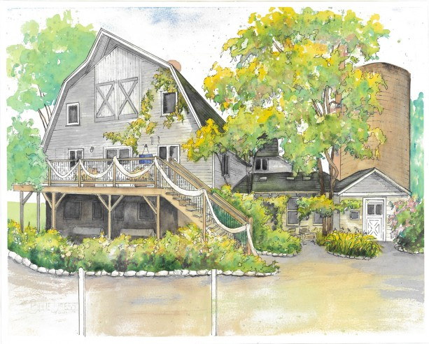 Wedding venue portrait in watercolor with ink detailing