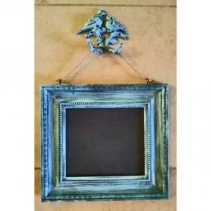 Distressed Aqua Blue Chalkboard w/metal Swallow Hanging Hook