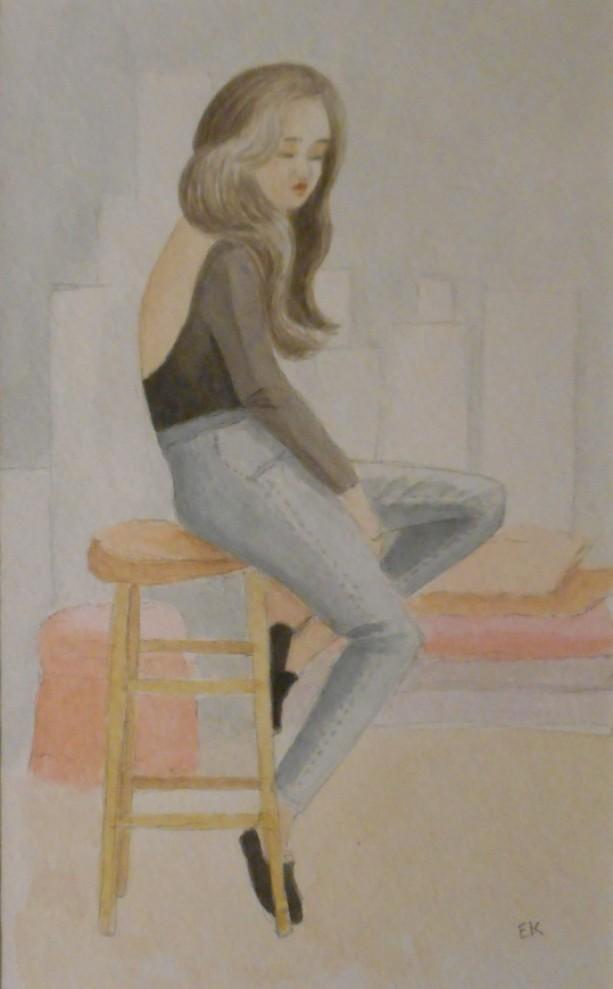 Blue Jean Lady - Original Watercolor