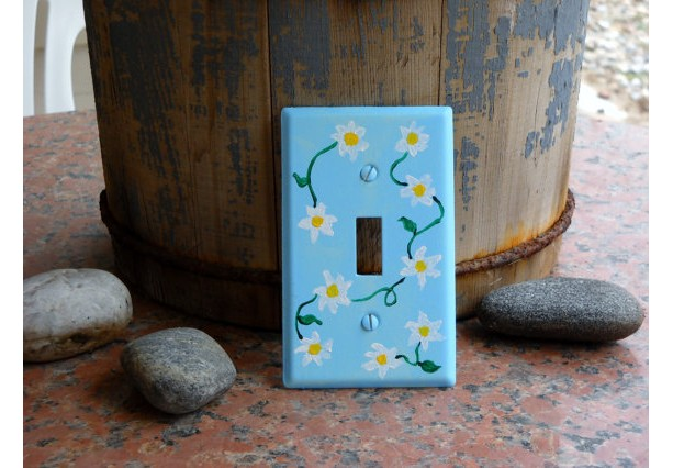 Hand Painted Flowery Switch Plate