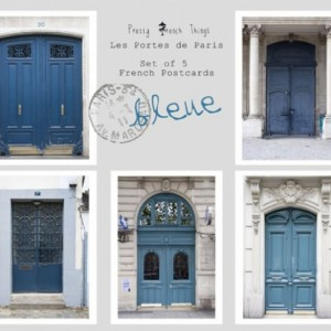 Paris Doors Postcards in Blue