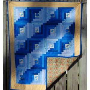 Blue and Yellow Birds & Apples Log Cabin Quilt with Flannel back