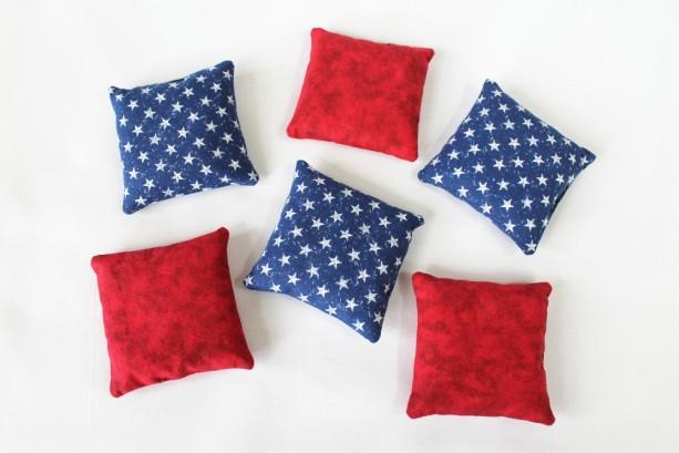 White Blue Bean Bags Set Of 6 Americana Patriotic Educational