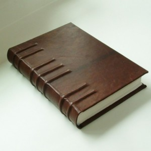 Handmade book bound in goatskin