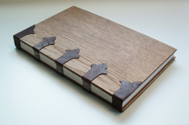 Book Cover Handmade ~ Handmade book bound in leather and wood aftcra