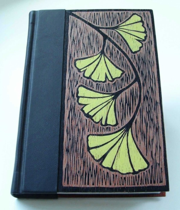 Book Cover Handmade : Handmade book bound in leather and wood original block