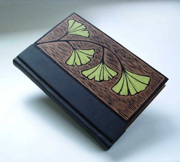 Handmade Cover For Book : Handmade book bound in leather and wood original block