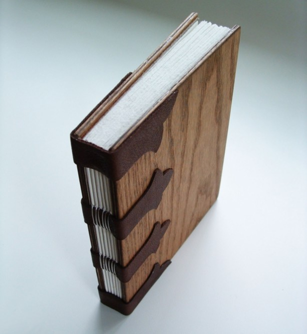 Handmade Art Book Cover : Handmade book bound in wood with open stitching onto