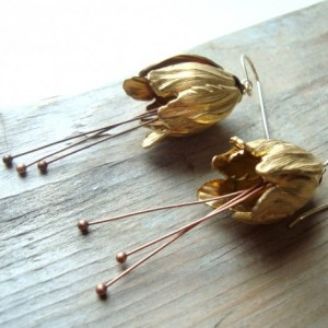Brass Tulip Earrings