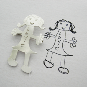 Silver brooch using your own child's artwork