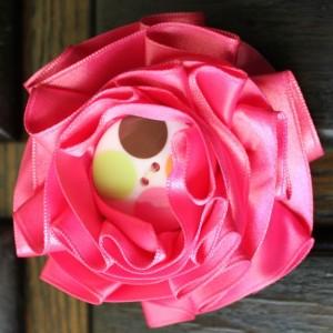 Bubble Gum Pink Ribbon Rosette Medallion Pin Brooch