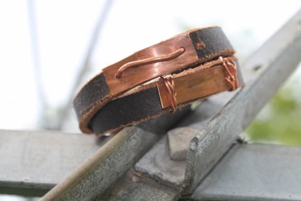 """The Bobby"" Men's Leather & Copper Wrap Bracelet"