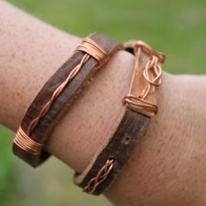 """Celtic Love Knot"" Leather & Copper Wrap Bracelet"