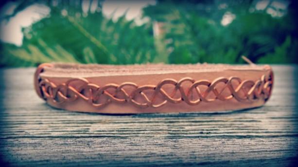 """Celtic Single Wrap Bracelet"" copper & raw leather"
