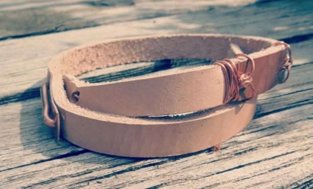 """The Nettles"" copper & raw leather men's wrap bracelet"