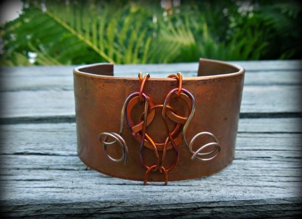 """""""The Technicolor Dream Cuff"""" copper cuff bracelet"""
