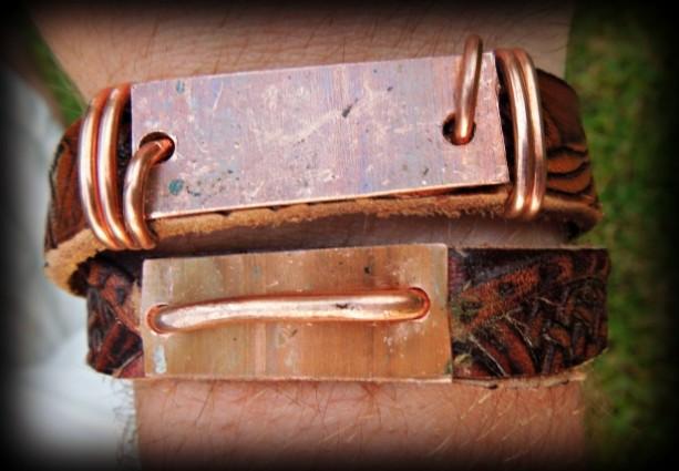"""""""The Frank"""" Men's Leather & Copper Wrap Bracelet"""