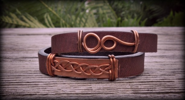 """Wind up Celtic"" copper & leather wrap bracelet"