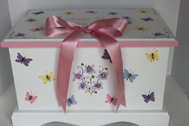 Pink Butterfly & Violets with bow keepsake chest memory box personalized baby gift