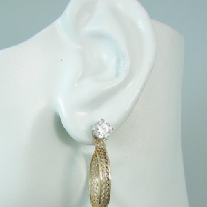 EARRNG JACKETS 14k Gold Filled Dangling Hoop Filligree Lattice Wire Earring Jacket JH20DG1GF