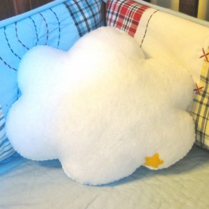 White Cloud Shaped Pillow - Stuffed Plush Cloud / Cloud Pillow / Baby Nursery Decor / Kid's Bedding / Child's Throw Pillow / Cloud with Star